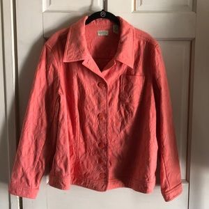 Women's 16-18W Spring Jacket Peach Embroidery
